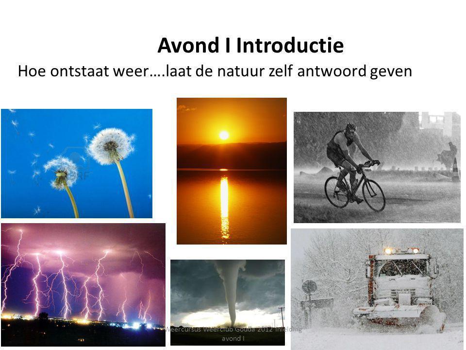 Avond I Introductie Hoe ontstaat weer….laat de natuur zelf antwoord geven 6 Weercursus Weerclub Gouda 2012 Inleiding avond I