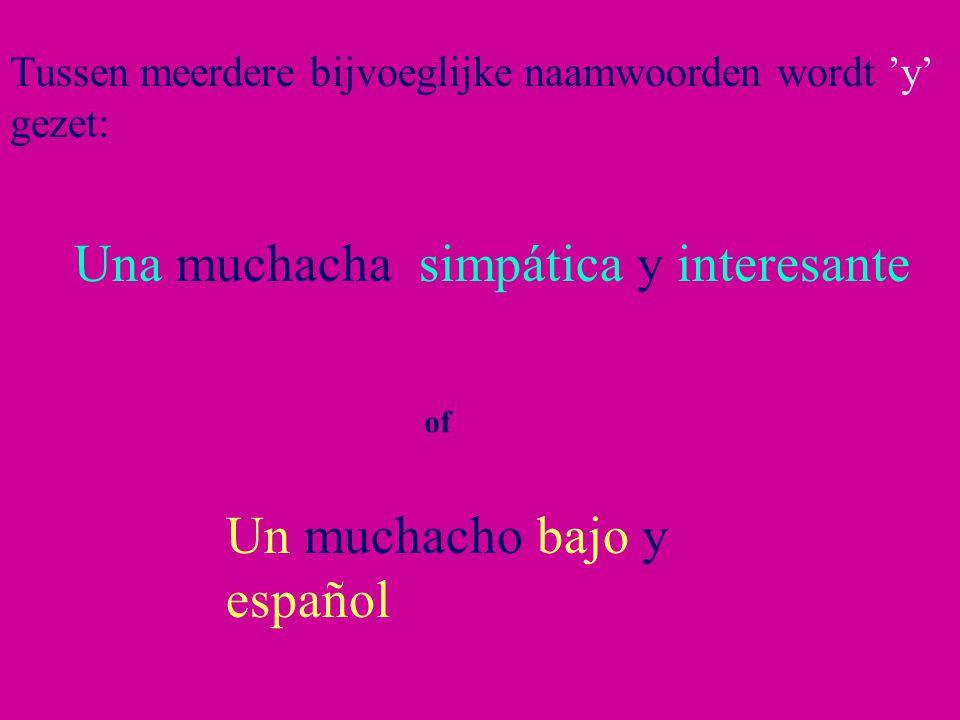 Tussen meerdere bijvoeglijke naamwoorden wordt 'y' gezet: Una muchacha simpática y interesante of Un muchacho bajo y español