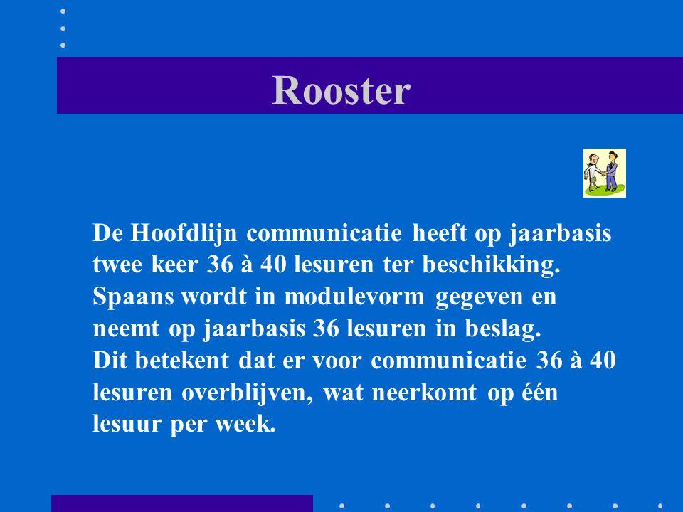 Rooster De Hoofdlijn communicatie heeft op jaarbasis twee keer 36 à 40 lesuren ter beschikking. Spaans wordt in modulevorm gegeven en neemt op jaarbas