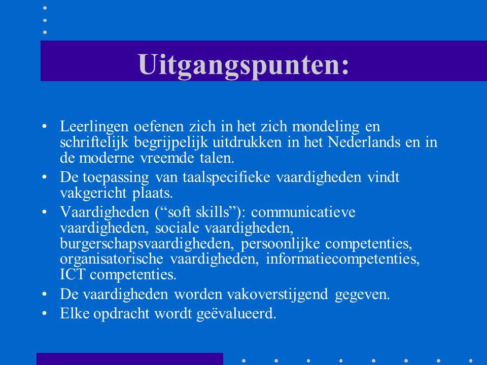 Uitgangspunten: Leerlingen oefenen zich in het zich mondeling en schriftelijk begrijpelijk uitdrukken in het Nederlands en in de moderne vreemde talen