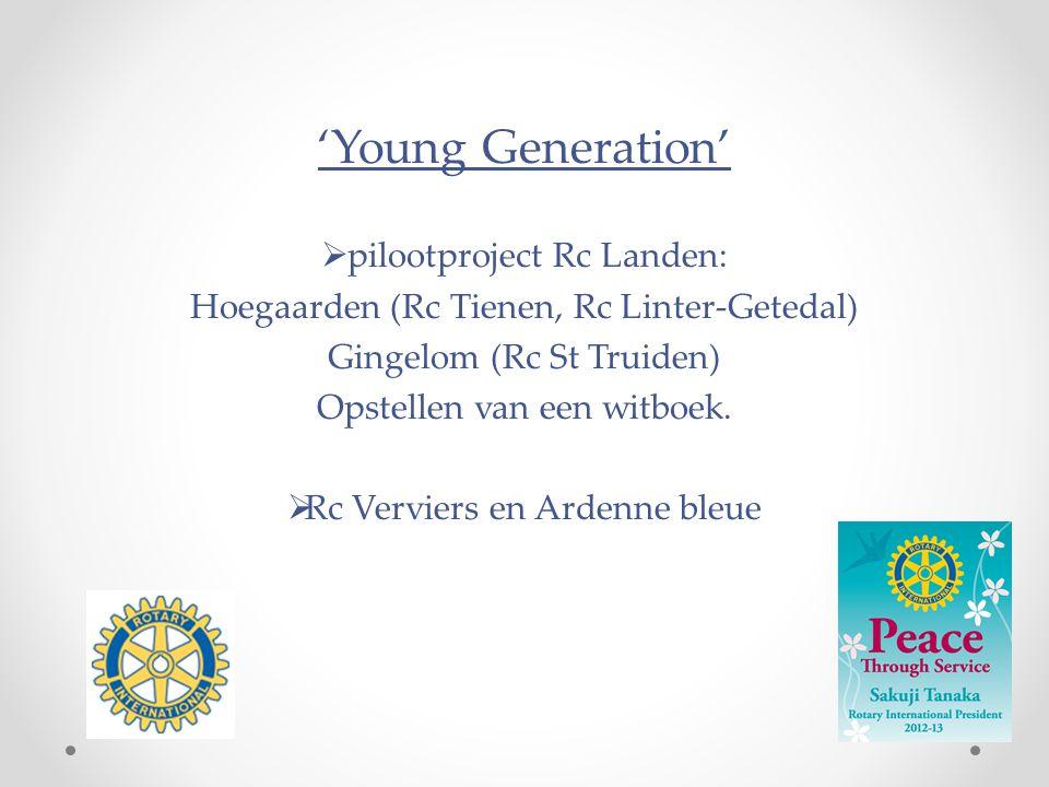'Young Generation'  pilootproject Rc Landen: Hoegaarden (Rc Tienen, Rc Linter-Getedal) Gingelom (Rc St Truiden) Opstellen van een witboek.  Rc Vervi