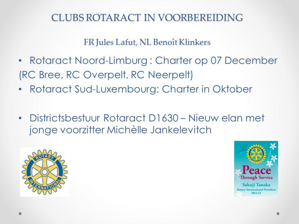 CLUBS ROTARACT IN VOORBEREIDING FR Jules Lafut, NL Benoît Klinkers Rotaract Noord-Limburg : Charter op 07 December (RC Bree, RC Overpelt, RC Neerpelt)