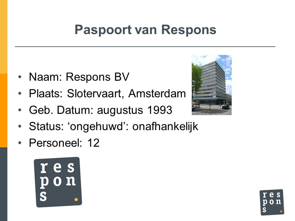 Paspoort van Respons Naam: Respons BV Plaats: Slotervaart, Amsterdam Geb. Datum: augustus 1993 Status: 'ongehuwd': onafhankelijk Personeel: 12