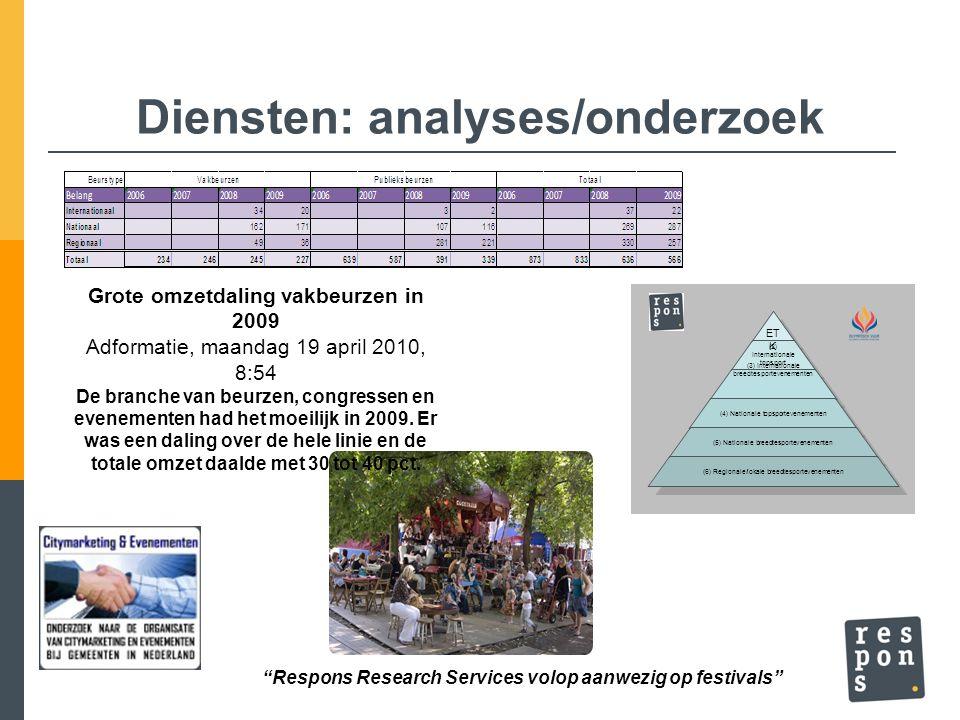 Diensten: analyses/onderzoek Grote omzetdaling vakbeurzen in 2009 Adformatie, maandag 19 april 2010, 8:54 De branche van beurzen, congressen en evenem