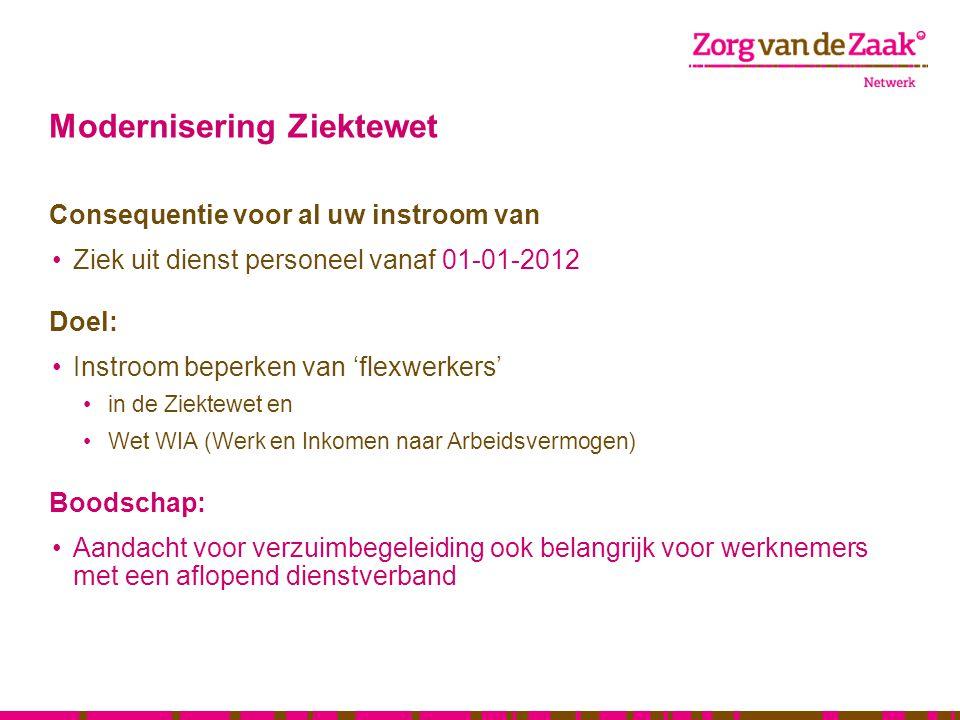 Modernisering Ziektewet Consequentie voor al uw instroom van Ziek uit dienst personeel vanaf 01-01-2012 Doel: Instroom beperken van 'flexwerkers' in d