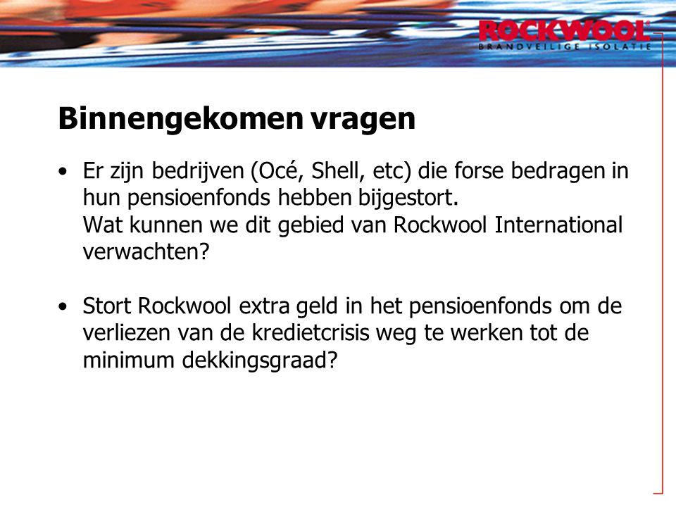 Binnengekomen vragen Er zijn bedrijven (Océ, Shell, etc) die forse bedragen in hun pensioenfonds hebben bijgestort.