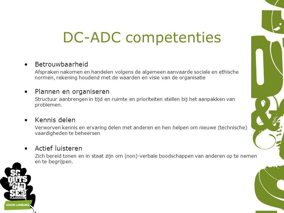 DC-ADC competenties Betrouwbaarheid Afspraken nakomen en handelen volgens de algemeen aanvaarde sociale en ethische normen, rekening houdend met de waarden en visie van de organisatie Plannen en organiseren Structuur aanbrengen in tijd en ruimte en prioriteiten stellen bij het aanpakken van problemen.