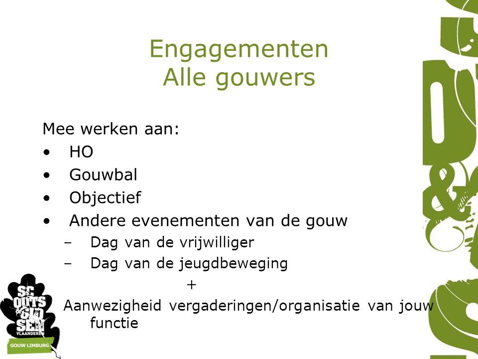 Engagementen Alle gouwers Mee werken aan: HO Gouwbal Objectief Andere evenementen van de gouw –Dag van de vrijwilliger –Dag van de jeugdbeweging + Aan