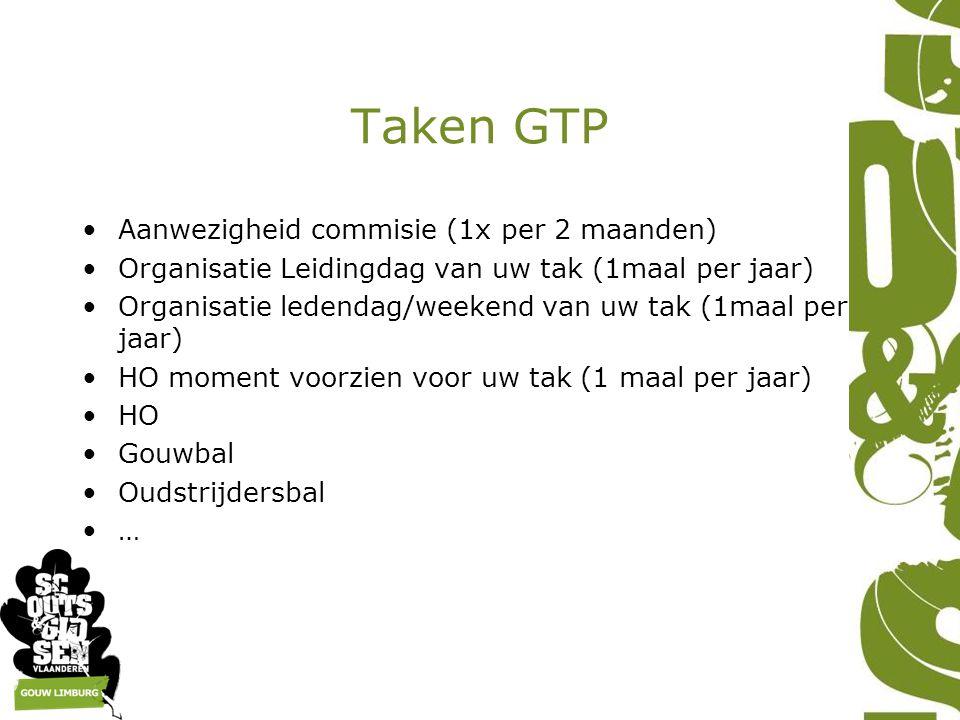 Taken GTP Aanwezigheid commisie (1x per 2 maanden) Organisatie Leidingdag van uw tak (1maal per jaar) Organisatie ledendag/weekend van uw tak (1maal p