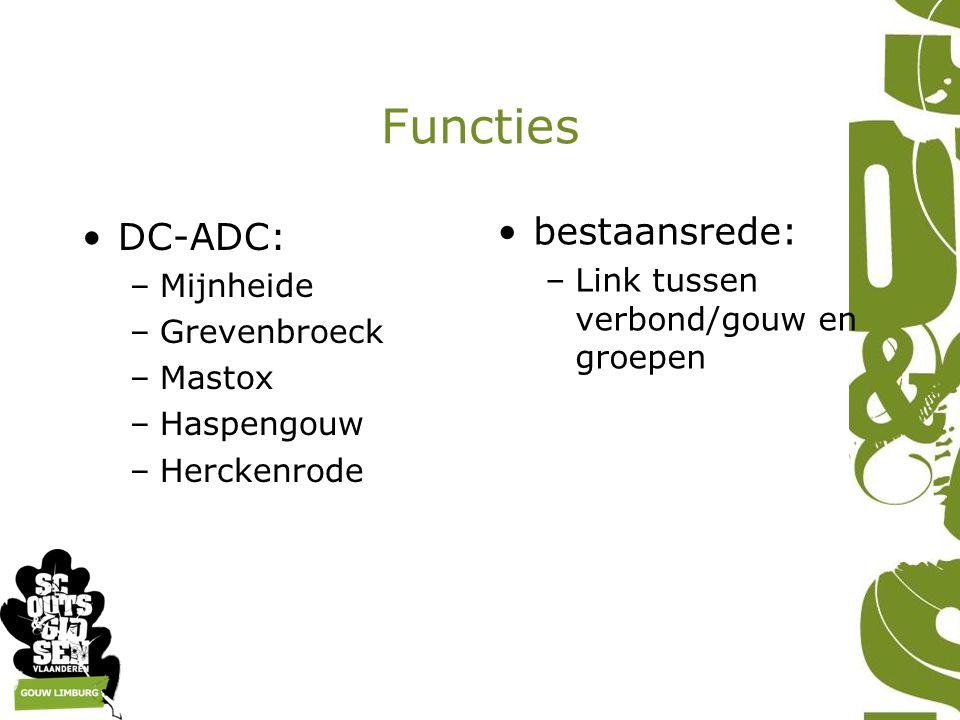 Functies DC-ADC: –Mijnheide –Grevenbroeck –Mastox –Haspengouw –Herckenrode bestaansrede: –Link tussen verbond/gouw en groepen