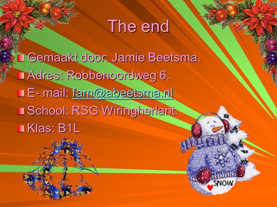 The end Gemaakt door: Jamie Beetsma. Adres: Robbenoordweg 6. E- mail: fam@abeetsma.nl fam@abeetsma.nl School: RSG Wiringherlant. Klas: B1L