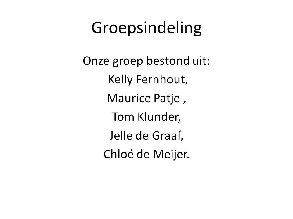 Groepsindeling Onze groep bestond uit: Kelly Fernhout, Maurice Patje, Tom Klunder, Jelle de Graaf, Chloé de Meijer.
