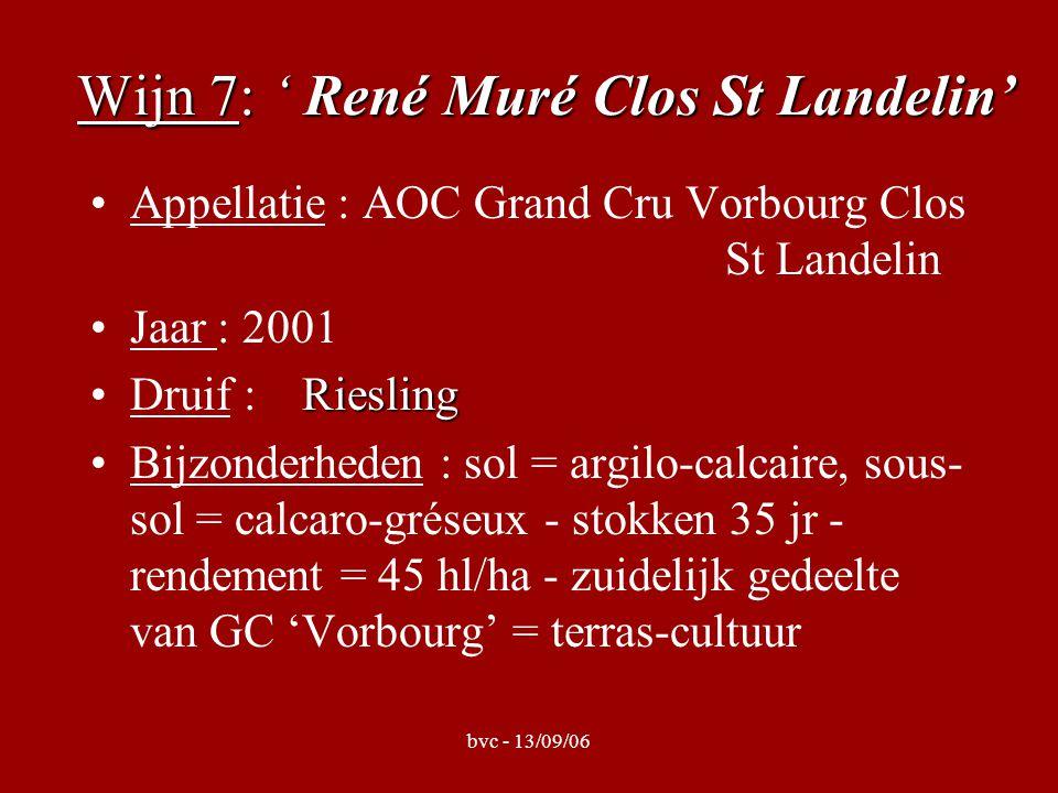 bvc - 13/09/06 Wijn 7: ' René Muré Clos St Landelin' Appellatie : AOC Grand Cru Vorbourg Clos St Landelin Jaar : 2001 RieslingDruif : Riesling Bijzonderheden : sol = argilo-calcaire, sous- sol = calcaro-gréseux - stokken 35 jr - rendement = 45 hl/ha - zuidelijk gedeelte van GC 'Vorbourg' = terras-cultuur