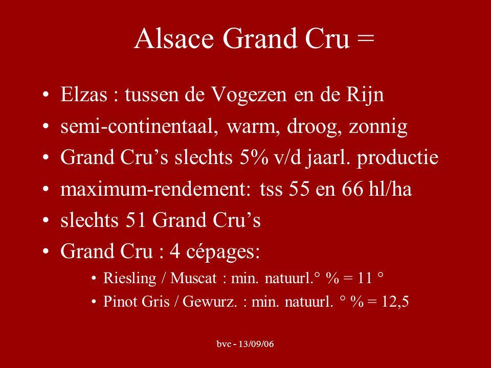 bvc - 13/09/06 Alsace Grand Cru = Elzas : tussen de Vogezen en de Rijn semi-continentaal, warm, droog, zonnig Grand Cru's slechts 5% v/d jaarl. produc