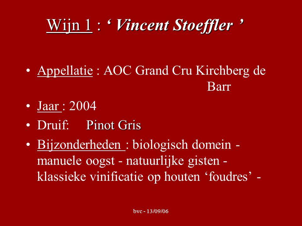 bvc - 13/09/06 Wijn 1 : ' Vincent Stoeffler ' Appellatie : AOC Grand Cru Kirchberg de Barr Jaar : 2004 Pinot GrisDruif: Pinot Gris Bijzonderheden : bi