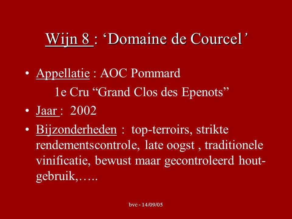 Wijn 8 : 'Domaine de Courcel' Appellatie : AOC Pommard 1e Cru Grand Clos des Epenots Jaar : 2002 Bijzonderheden : top-terroirs, strikte rendementscontrole, late oogst, traditionele vinificatie, bewust maar gecontroleerd hout- gebruik,…..