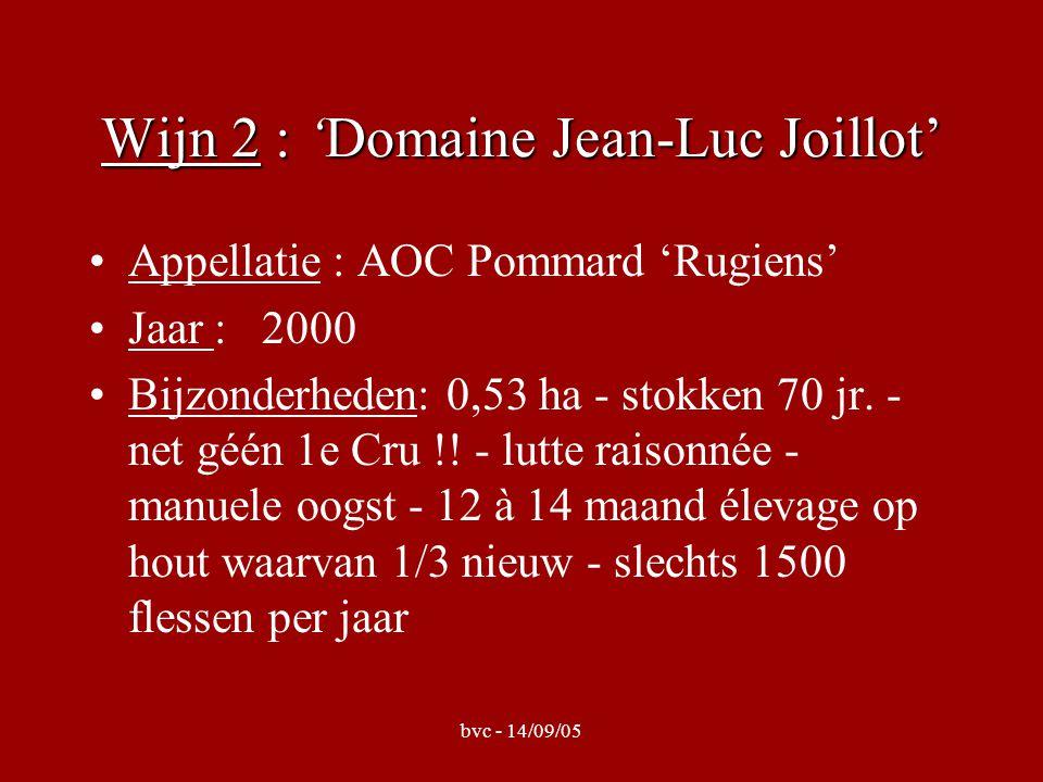 bvc - 14/09/05 Wijn 2 : 'Domaine Jean-Luc Joillot' Appellatie : AOC Pommard 'Rugiens' Jaar : 2000 Bijzonderheden: 0,53 ha - stokken 70 jr.
