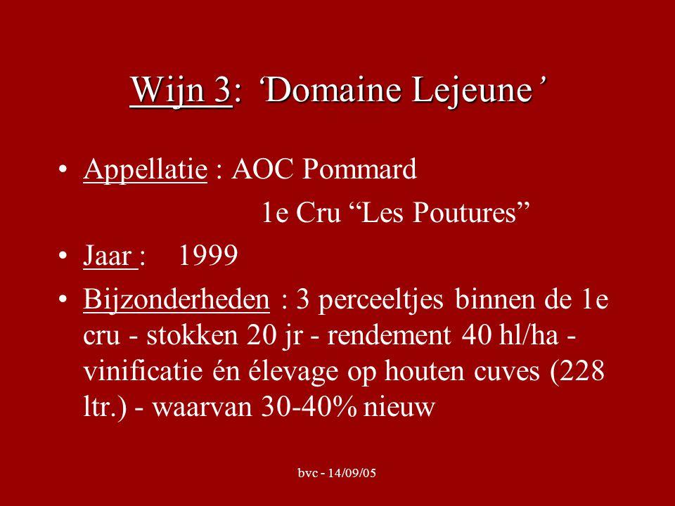 Wijn 3: 'Domaine Lejeune' Appellatie : AOC Pommard 1e Cru Les Poutures Jaar : 1999 Bijzonderheden : 3 perceeltjes binnen de 1e cru - stokken 20 jr - rendement 40 hl/ha - vinificatie én élevage op houten cuves (228 ltr.) - waarvan 30-40% nieuw
