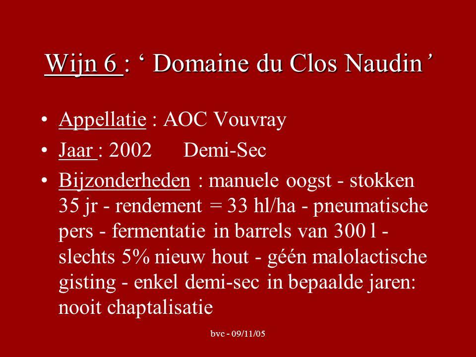 bvc - 09/11/05 Wijn 7 : ' Domaine Deletang' Appellatie : AOC Montlouis-sur-Loire Jaar : 1997 Moelleux Bijzonderheden: manuele oogst - argilo- calcaire - géén chaptalisatie - 50 gr.