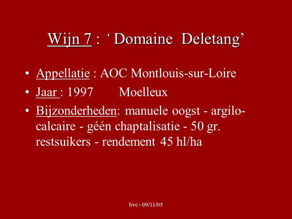 bvc - 09/11/05 Wijn 8 : ' Domaine Huet' Appellatie : AOC Vouvray Jaar : 2002Moelleux Bijzonderheden: Clos du Bourg - perceel 6 ha- manuele oogst - terroir = calcaire (direct kontact, dikte 1 m) - pneumatische pers- rendement = 35 hl/ha - suiker: 23 g/l
