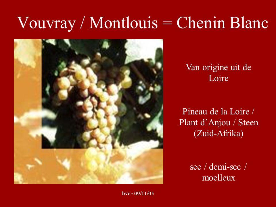 bvc - 09/11/05 Vouvray = 2000 ha productie, over 7 gemeenten langs rechter-oever v/d Loire (ten oosten van Tours) terroir = klei-kalk of klei-kiezelsteen welke hier rust op tuffeau (tufkrijtsteen) ( argiles à silex et argilo-calcaire) enkel witte wijn, maximum rendement = 52 hl/ha monocépage-wijnen: Chenin Blanc