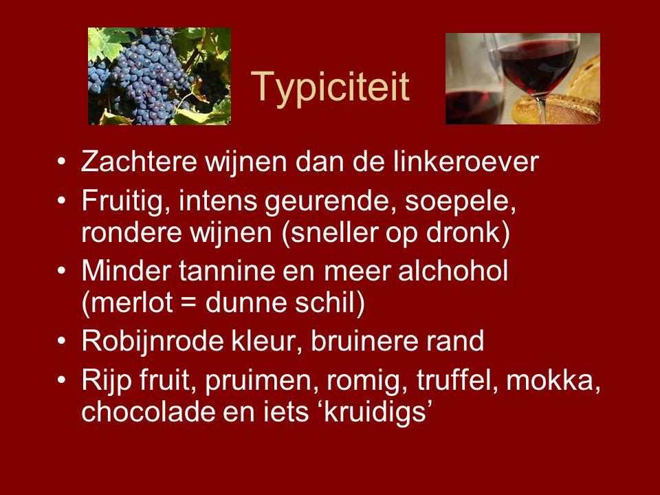 Typiciteit Zachtere wijnen dan de linkeroever Fruitig, intens geurende, soepele, rondere wijnen (sneller op dronk) Minder tannine en meer alchohol (merlot = dunne schil) Robijnrode kleur, bruinere rand Rijp fruit, pruimen, romig, truffel, mokka, chocolade en iets 'kruidigs'