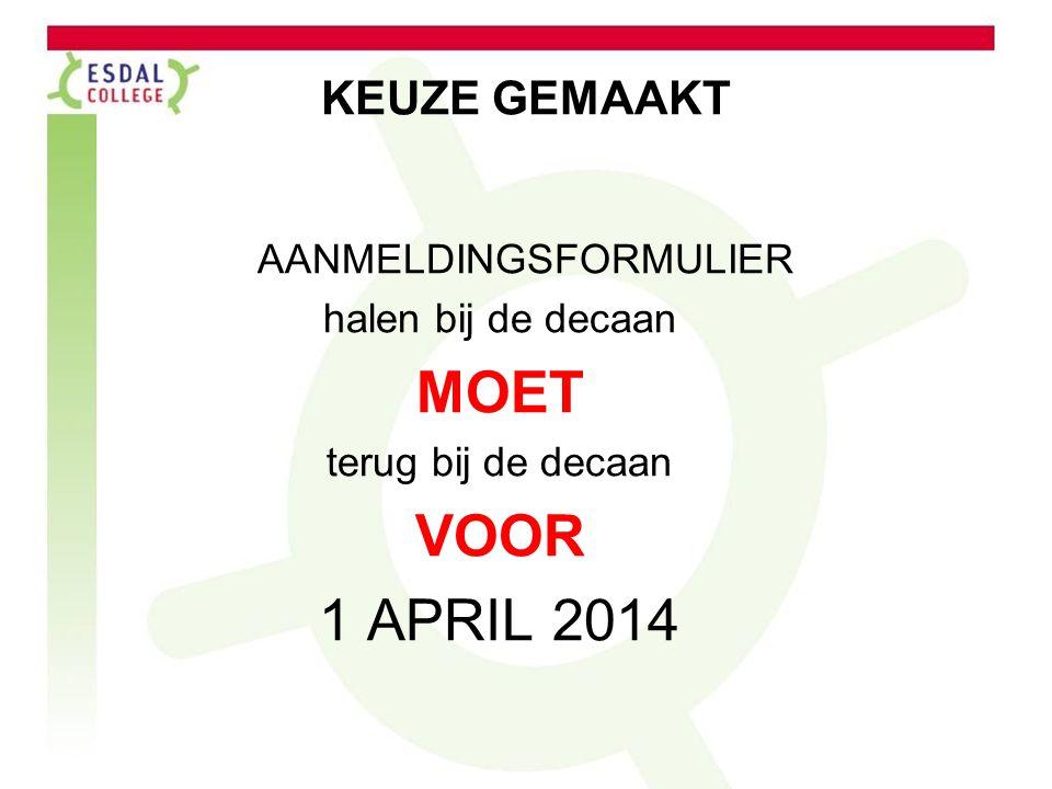 KEUZE GEMAAKT AANMELDINGSFORMULIER halen bij de decaan MOET terug bij de decaan VOOR 1 APRIL 2014