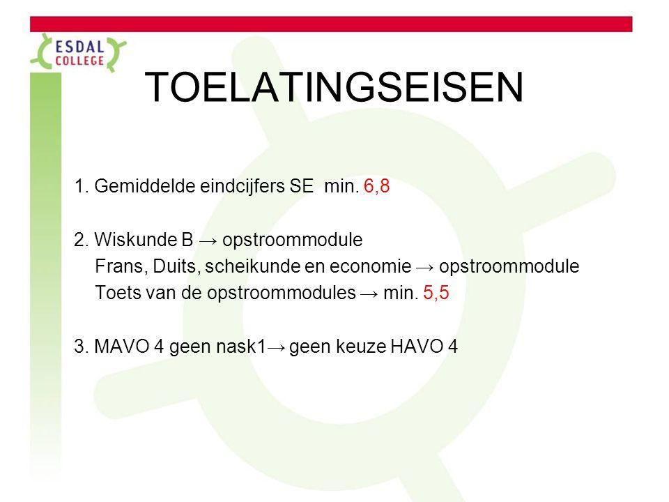 TOELATINGSEISEN 1.Gemiddelde eindcijfers SE min. 6,8 2.