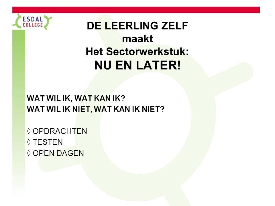 DE LEERLING ZELF maakt Het Sectorwerkstuk: NU EN LATER.
