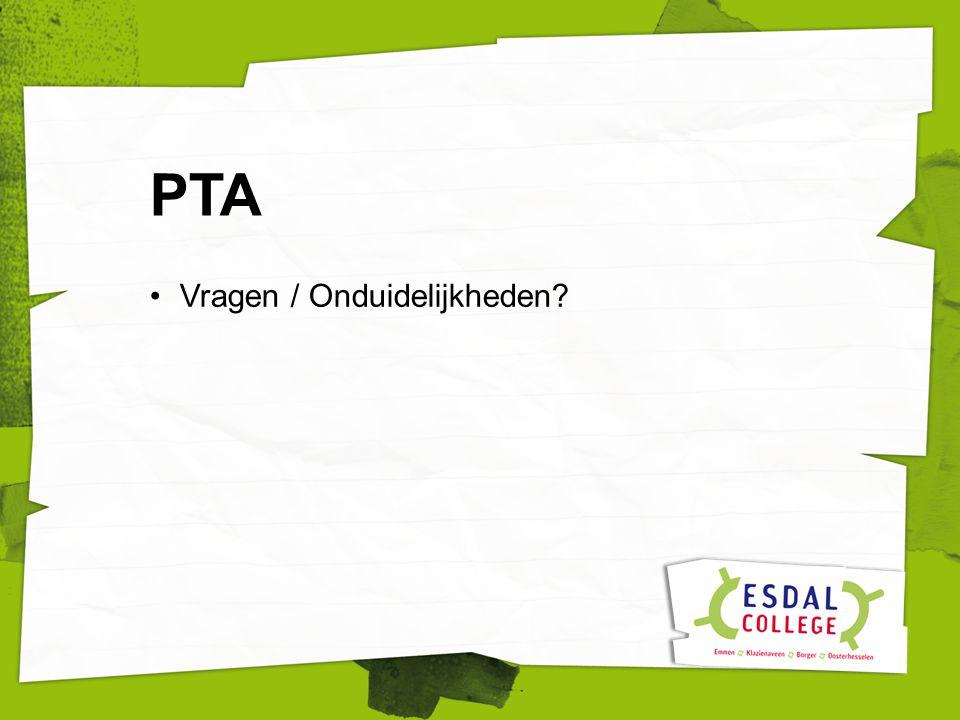 Vragen / Onduidelijkheden PTA