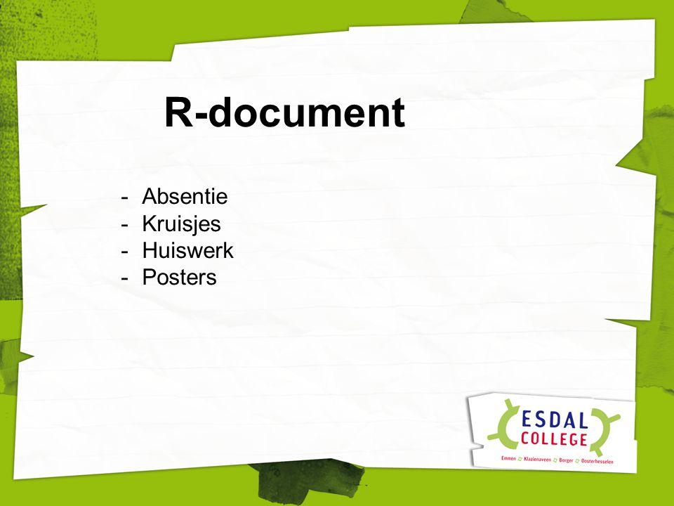 R-document -Absentie -Kruisjes -Huiswerk -Posters