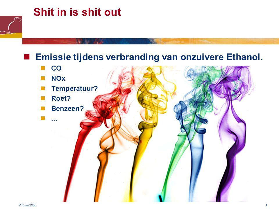 4 Shit in is shit out Emissie tijdens verbranding van onzuivere Ethanol.