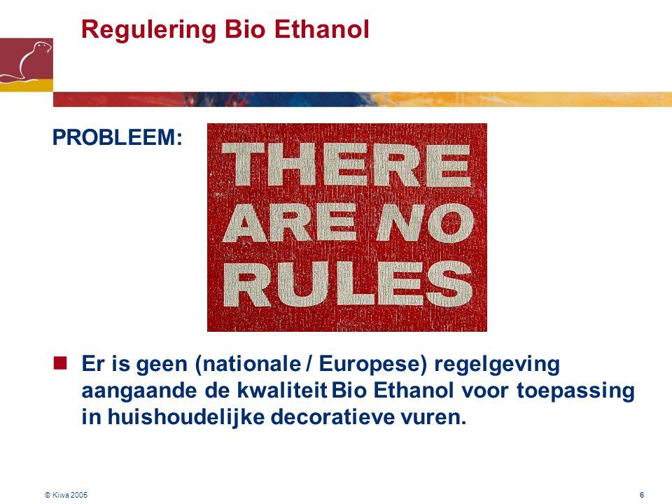Regulering Bio Ethanol PROBLEEM: Er is geen (nationale / Europese) regelgeving aangaande de kwaliteit Bio Ethanol voor toepassing in huishoudelijke decoratieve vuren.