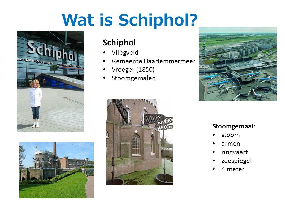 Schiphol Vliegveld Gemeente Haarlemmermeer Vroeger (1850) Stoomgemalen Stoomgemaal: stoom armen ringvaart zeespiegel 4 meter Wat is Schiphol?