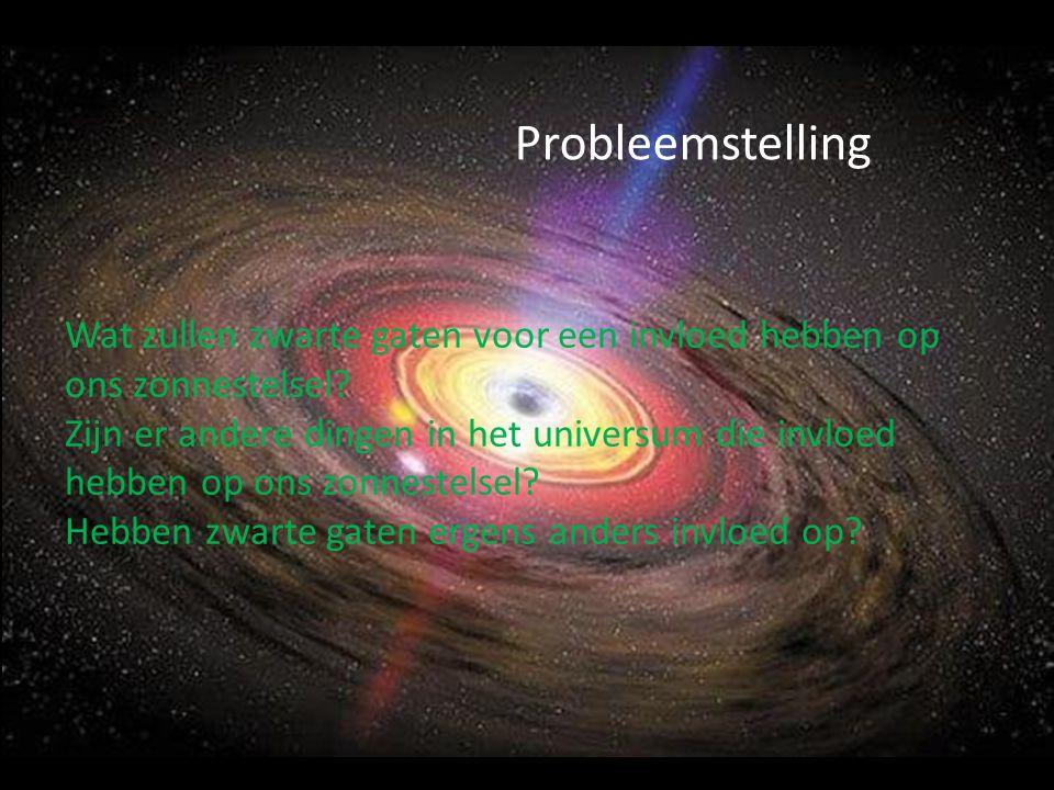 Probleemstelling Wat zullen zwarte gaten voor een invloed hebben op ons zonnestelsel? Zijn er andere dingen in het universum die invloed hebben op ons