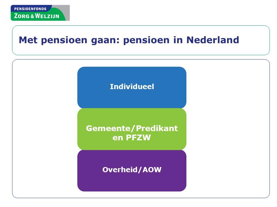 Met pensioen gaan: pensioen in Nederland Individueel Overheid/AOW Gemeente/Predikant en PFZW