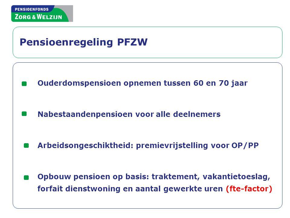 Pensioenregeling PFZW Ouderdomspensioen opnemen tussen 60 en 70 jaar Nabestaandenpensioen voor alle deelnemers Arbeidsongeschiktheid: premievrijstelli