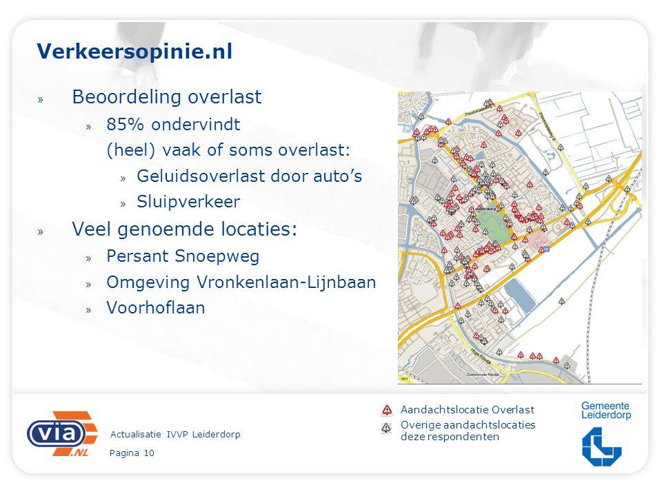 Pagina 10 Actualisatie IVVP Leiderdorp Verkeersopinie.nl » Beoordeling overlast » 85% ondervindt (heel) vaak of soms overlast: » Geluidsoverlast door