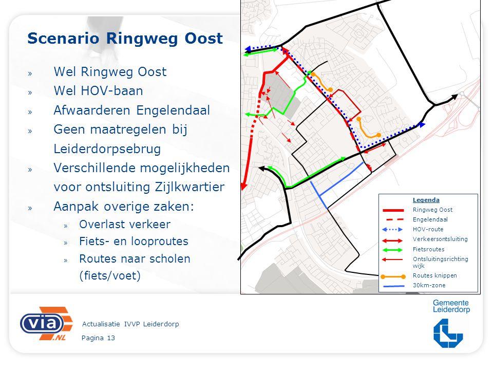 Pagina 13 Actualisatie IVVP Leiderdorp Scenario Ringweg Oost » Wel Ringweg Oost » Wel HOV-baan » Afwaarderen Engelendaal » Geen maatregelen bij Leider