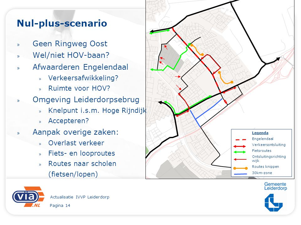 Pagina 14 Actualisatie IVVP Leiderdorp Nul-plus-scenario » Geen Ringweg Oost » Wel/niet HOV-baan? » Afwaarderen Engelendaal » Verkeersafwikkeling? » R