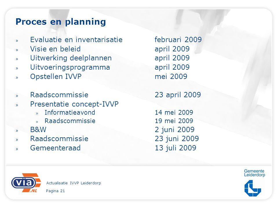 Pagina 21 Actualisatie IVVP Leiderdorp Proces en planning » Evaluatie en inventarisatie februari 2009 » Visie en beleidapril 2009 » Uitwerking deelpla