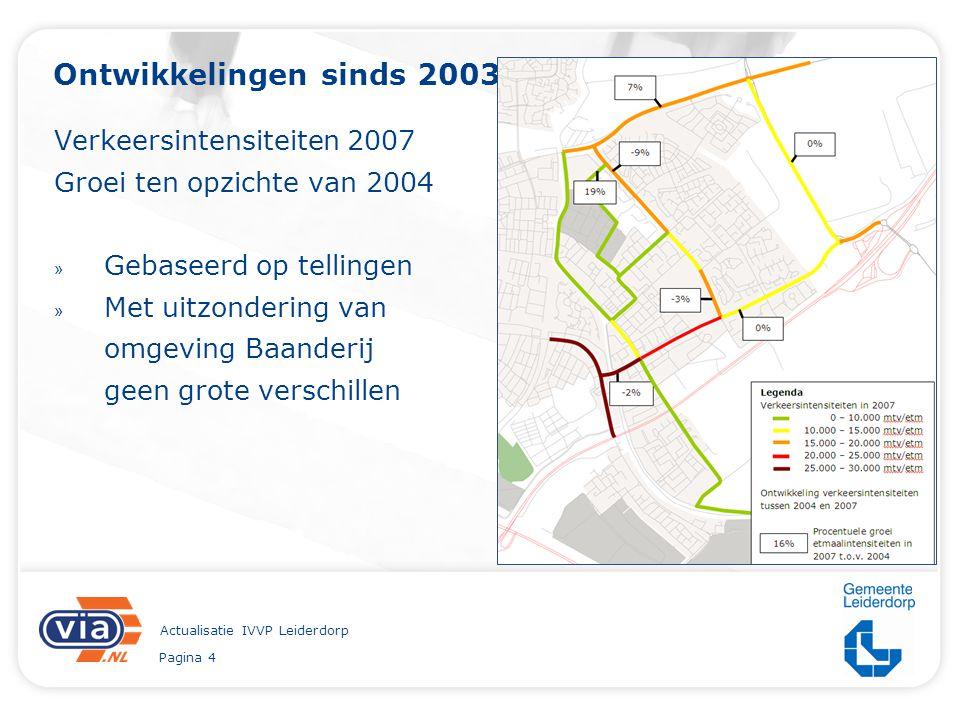 Pagina 4 Actualisatie IVVP Leiderdorp Ontwikkelingen sinds 2003 Verkeersintensiteiten 2007 Groei ten opzichte van 2004 » Gebaseerd op tellingen » Met uitzondering van omgeving Baanderij geen grote verschillen