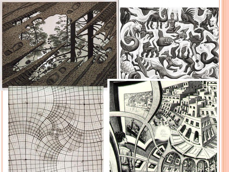 Zijn laatste periode waarbij hij de wiskundige trucks toepaste op zijn realistische kunst vind ik zijn mooiste periode.