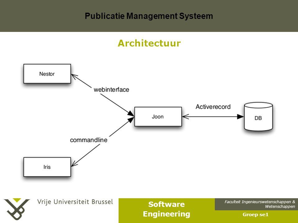 Faculteit Ingenieurswetenschappen & Wetenschappen Software Engineering Publicatie Management Systeem Groep se1 Architectuur