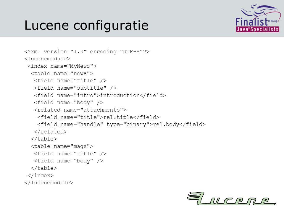 Lucene configuratie introduction rel.title rel.body