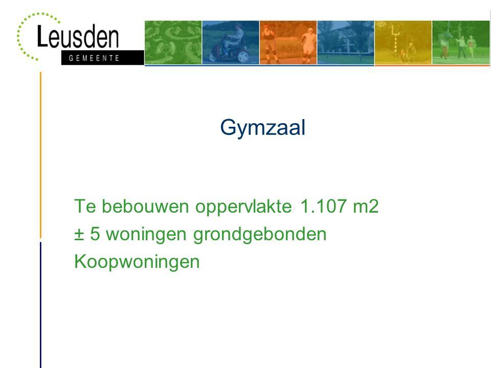 Gymzaal Te bebouwen oppervlakte 1.107 m2 ± 5 woningen grondgebonden Koopwoningen