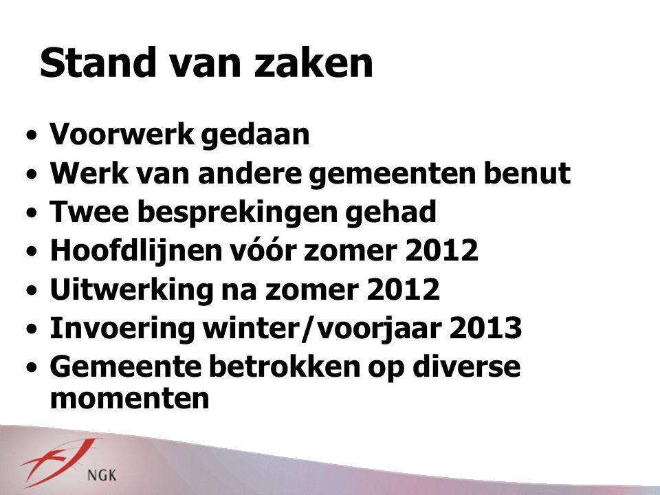 Stand van zaken Voorwerk gedaan Werk van andere gemeenten benut Twee besprekingen gehad Hoofdlijnen vóór zomer 2012 Uitwerking na zomer 2012 Invoering