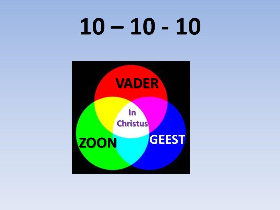 10 – 10 - 10 VADER ZOON GEEST GEEST InChristus