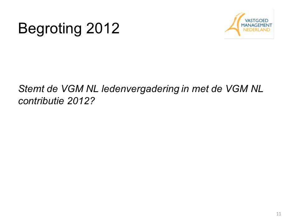 Begroting 2012 11 Stemt de VGM NL ledenvergadering in met de VGM NL contributie 2012?