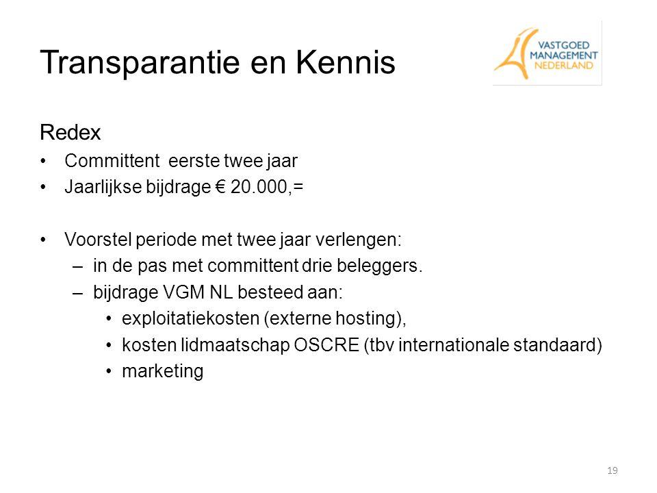 Transparantie en Kennis Redex Committent eerste twee jaar Jaarlijkse bijdrage € 20.000,= Voorstel periode met twee jaar verlengen: –in de pas met comm